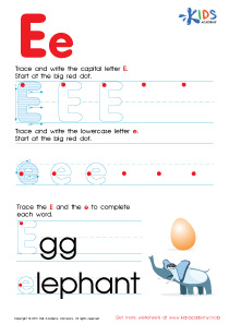 ABC Alphabet Worksheets | Letter E Tracing PDF